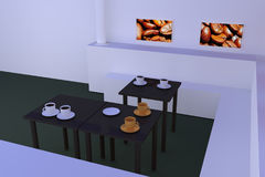 Hall with tables with a dark reflective surface and coffee cups... Stock Photography