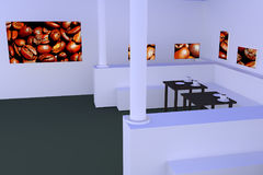 Hall with tables with a dark reflective surface and coffee cups... Stock Images