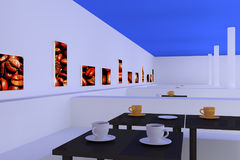 Hall with tables with a dark reflective surface and coffee cups... Stock Photo