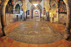 The hall in the Temple of the Holy Sepulchre. Jerusalem - September 3: Hall of the Holy Sepulchre in September 3, 2012 in Jerusalem. Magnificent hall in the Royalty Free Stock Photo