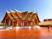 Hall of a temple at Phra That Choeng Chum Royalty Free Stock Photos