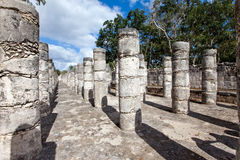 Hall of the Thousand Pillars - Columns at Chichen Itza, Mexico Stock Photography