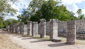 Hall of the Thousand Pillars - Columns at Chichen Itza, Mexico stock photos