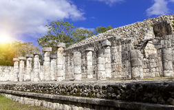 Hall of the Thousand Pillars - Columns at Chichen Itza, Mexico Stock Photos