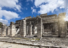 Hall of the Thousand Pillars - Columns at Chichen Itza, Mexico royalty free stock photos