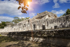 Hall of the Thousand Pillars - Columns at Chichen Itza, Mexico royalty free stock images