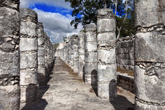 Hall of the Thousand Pillars - Columns at Chichen Itza, Mexico.Close up in a sunny day Royalty Free Stock Photography