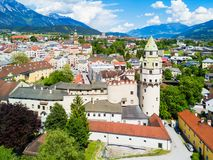 Hall Tirol aerial view. Hasegg Castle or Burg Hasegg aerial panoramic view, castle and mint located in Hall in Tirol, Tyrol region of Austria Stock Image