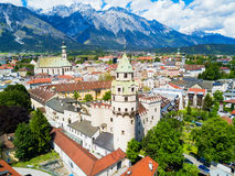Hall Tirol aerial view. Hasegg Castle or Burg Hasegg aerial panoramic view, castle and mint located in Hall in Tirol, Tyrol region of Austria Royalty Free Stock Photos