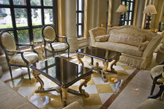 Hall with two elegant tea tables Royalty Free Stock Photo