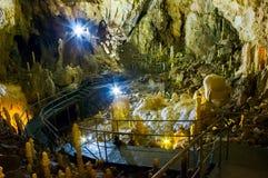 Hall of Ursus spelaeus cave. APUSENI, Romania - OCT 04, 2015: hall of Ursus spelaeus cave in north-west Romanian mountains Bihor district, Transilvania royalty free stock photo