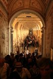 Hall of Vatican Museum. Crowded by crowds of tourists, Vatican city in Rome, Italy Stock Image