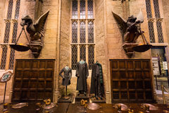 The Hall in the Warner Brothers Studio tour 'The making of Harry. Leavesden, London - March 3 2016: The Hall in the Warner Brothers Studio tour 'The making of royalty free stock photo