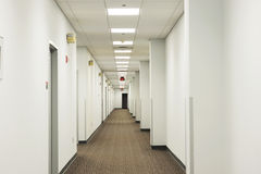 Hall way in office building. Hall way perspetive view in office building Stock Photo