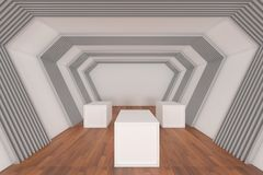 Hall Ways Room with Blank Boxes Royalty Free Stock Photos