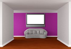 Hall with white sofa and flat Tv Royalty Free Stock Photography