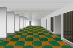 Hall with white walls and colored tiles. Minimalism in the interior of the hall with white walls and colored tiles Stock Image