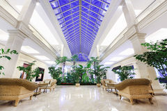 Hall with wicker chairs in Crocus City Mall Royalty Free Stock Image