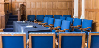 Hall wih blue seats Royalty Free Stock Images