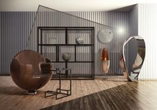 Hall wnętrze z projektanta meble & sztuki współczesnej rzeźbą Ilustracja Wektor