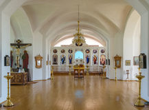 Hall of worship with the iconostasis in the background in Russian church Royalty Free Stock Photo