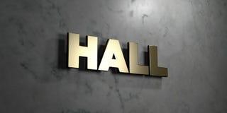 Hall - złoto znak wspinający się na glansowanej marmur ścianie - 3D odpłacająca się królewskości bezpłatna akcyjna ilustracja Ilustracja Wektor