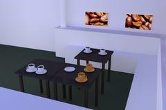 Hall z stołami z ciemną odbijającą powierzchnią i filiżankami Royalty Ilustracja