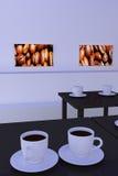 Hall z stołami z ciemną odbijającą powierzchnią i filiżankami Ilustracja Wektor