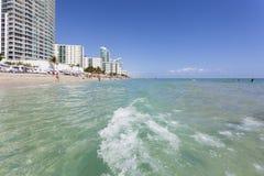 Hallandale Beach, Florida. Hallandale Beach, Fl, USA - March 11, 2017: Beautiful sand beach in Hallandale Beach. Florida, United States Stock Photo