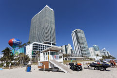 Hallandale Beach, Florida. HALLANDALE BEACH, USA - MAR 11, 2017: Waterfront buildings in the city of Hallandale Beach. Florida, United States Royalty Free Stock Image