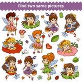 Hallazgo dos las mismas imágenes Sistema del vector de la pequeña muchacha de hadas Foto de archivo libre de regalías
