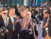 Halle Berry at the `Kings` premiere. Actress Halle Berry at the `Kings` premiere during the 2017 Toronto International Film Festival at Roy Thomson Hall on Royalty Free Stock Photo