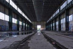 Halle mit Schienen Stockbilder