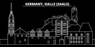 Halle Saale silhouette skyline. Germany - Halle Saale vector city, german linear architecture, buildingtravel. Halle Saale silhouette skyline. Germany - Halle vector illustration