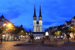 Halle at sunset. Market Church of Our Dear Lady in Halle at sunset, Germany Royalty Free Stock Photos