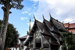 Halle Thailands Chiang Mai Wat Chedi Luang Partial stockfotografie