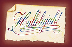 Hallelujah!. This is vintage paper with colorful lettering stock photography
