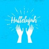 Hallelujah and raised hands vector illustration