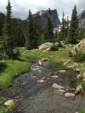 Hallet het Piek toenemen over kleine stroom in Rocky Mountain National Park stock fotografie
