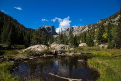 Hallet Peak in Rocky Mountain National Park on the way to Emerald Lake. This stream, pond is part of the path up to Emerald Lake in Rocky Mountain National Park royalty free stock images