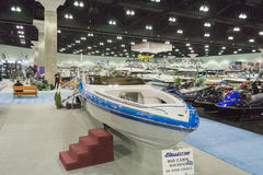 Hallett 290 boat on display at the Los Angeles Boat Show on Febr Royalty Free Stock Image