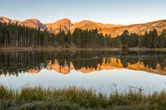 Hallett maximumreflexion, Sprague Lake, Rocky Mountain National P Arkivbild