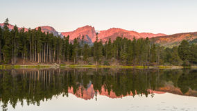 Hallett Peak Reflection, Sprague Lake, Rocky Mountain National P. Hallett Peak reflection in Sprague Lake at dawn, in Rocky Mountain National Park, near Estes royalty free stock image