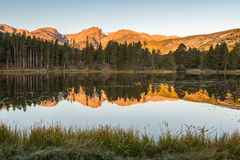Hallett Peak Reflection, Sprague Lake, Rocky Mountain National P. Hallett Peak reflection in Sprague Lake at sunrise, in Rocky Mountain National Park, near Estes stock photography
