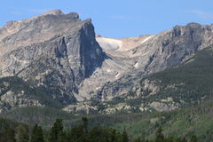 Hallett Peak and Tyndall Glacier. Hallet Peak and Tyndall Glacier rise over 12,000 feet about sea level in Rocky Mountain National Park Stock Photo