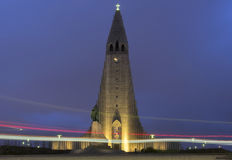 Hallgrímskirkja church. By night with a car light trail, Reykjavik, Iceland Royalty Free Stock Images
