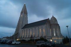 Hallgrímskirkjan at night. Hallgrímskirkjan church cathedral in Reykjavik, Iceland (church of Hallgrímur) at night with illumination Royalty Free Stock Image