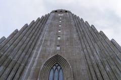 Hallgrimskirkja大教堂前面  免版税图库摄影