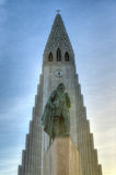 Hallgrimskirkja Cathedral and Leif Eriksson in Reykjavik , Icela Royalty Free Stock Photos