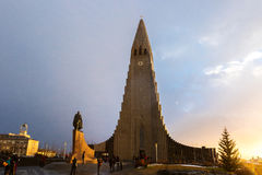 Hallgrimskirkja Cathedral and Leif Eriksson Statue Royalty Free Stock Photo